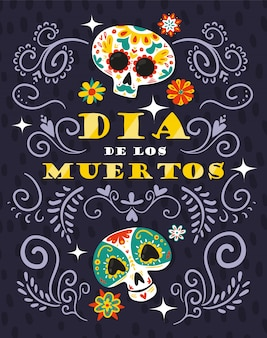 Mexican day dead celebration floral ornamental illustration with skull