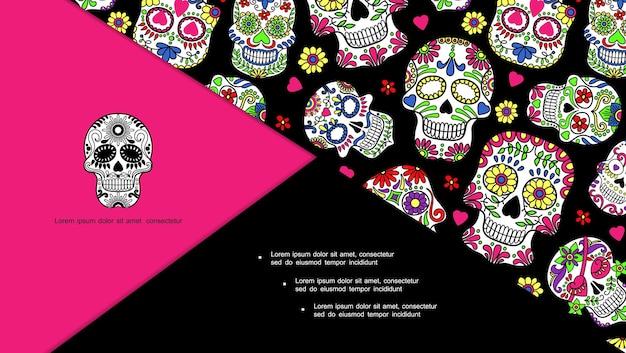 Composizione messicana del giorno dei morti con teschi di zucchero con ornamenti floreali in diapositiva in stile disegnato a mano,