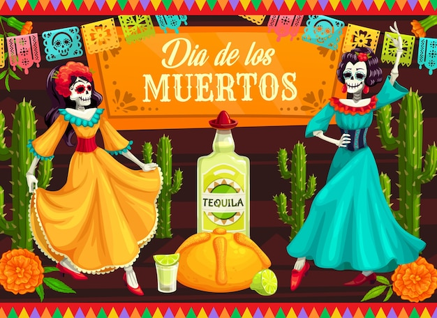 Mexican day of the dead dancing catrina skeletons.  dia de los muertos skeleton dancers with calavera skulls, cactuses and marigold flowers, tequila, lime and bread, decorated with papel picado
