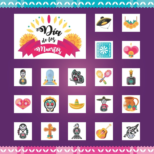 Mexican day of dead detailed style symbols set design, mexico culture
