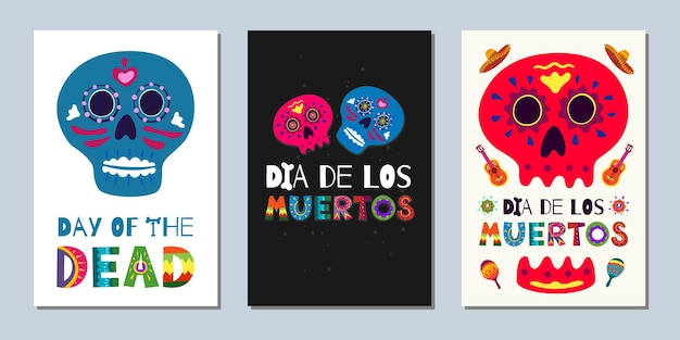 Mexican day of the dead dia de los muertos banners. national festival greeting cards with hand drawn lettering flowers skulls on dark and white background. vector illustration poster set