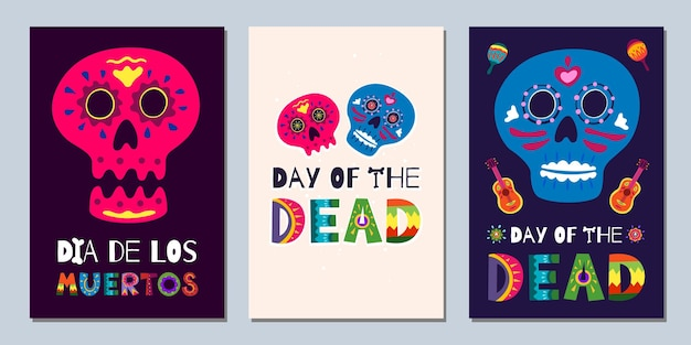 Mexican day of the dead dia de los muertos banners. national festival greeting cards with skeleton hand drawn lettering flowers skulls on dark and light background. vector illustration poster set