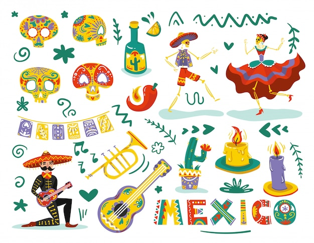 Mexican day dead elements attributes colorful set with dancing skeletons sugar skulls masks
