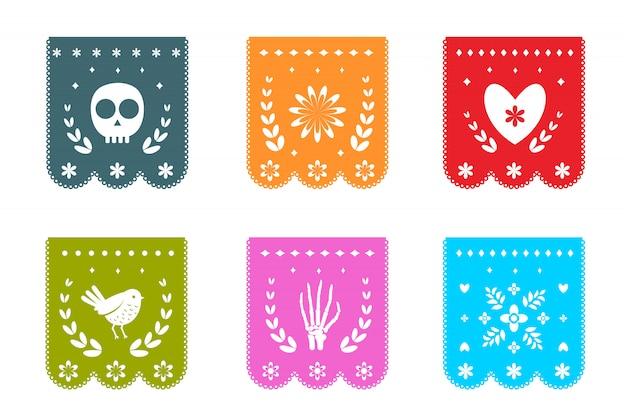 Mexican day of the dead flags with symbols patterns