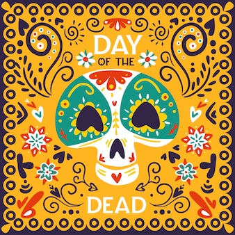 Mexican day of dead holiday celebration bright golden yellow ornamental illustration with skull mask abstract vector illustration