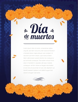 Mexican day of the dead marigold composition - vertical template