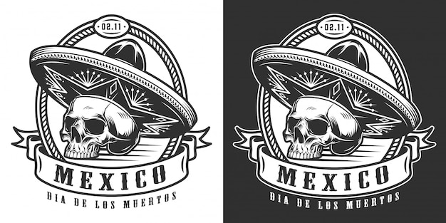 Mexican day of dead monochrome logotype