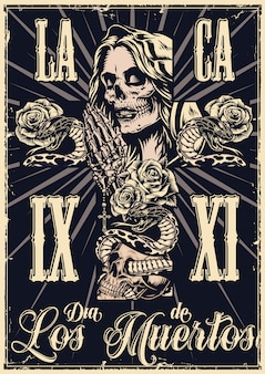 Mexican day of dead monochrome poster Premium Vector