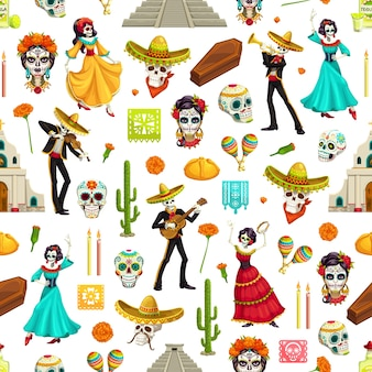 Mexican day of the dead seamless pattern of dia de los muertos sugar skulls, sombreros and guitars, catrina, marigold flowers and cactuses, candles, bread, churches and pyramids