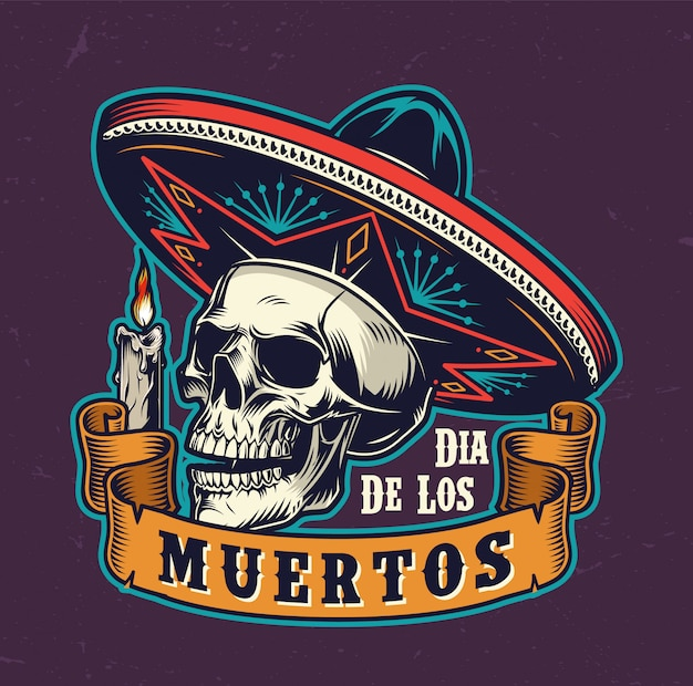 Mexican day of dead vintage label