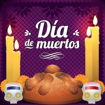 Мексиканский день мертвых жертвенник - композиция для копирования пространства