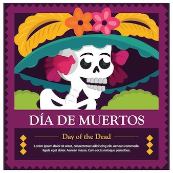 죽은 catrina의 멕시코 날-공간 템플릿 복사
