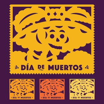 죽은 catrina의 멕시코 날-잘라낸 종이 세트