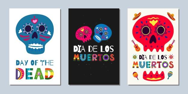 メキシコの死者の日ディアデロスムエルトスのバナー。濃い白の背景に手描きのレタリングの花の頭蓋骨と全国のお祭りのグリーティングカード。ベクトルイラストポスターセット