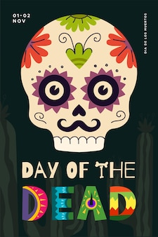 멕시코 망자의 날 휴일 포스터 dia de los muertos 국가 축제 인사말 카드
