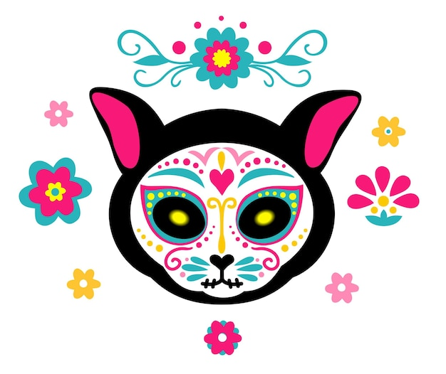 Mexican dead cat cat skull sugar head colorful holiday vector for day of the dead bones skeleton