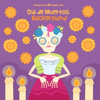 Mexican dead woman with flowers and candles