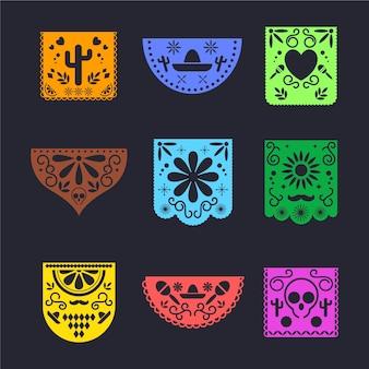 멕시코 디자인 깃발 천 세트