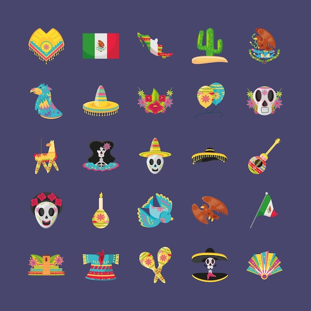 Mexican detailed style symbols set design, mexico culture