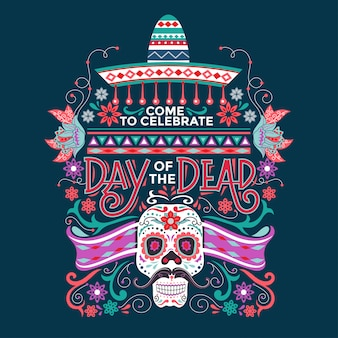 Mexican dia de muertos mean day of the dead with sugar skull and sombrero illustration