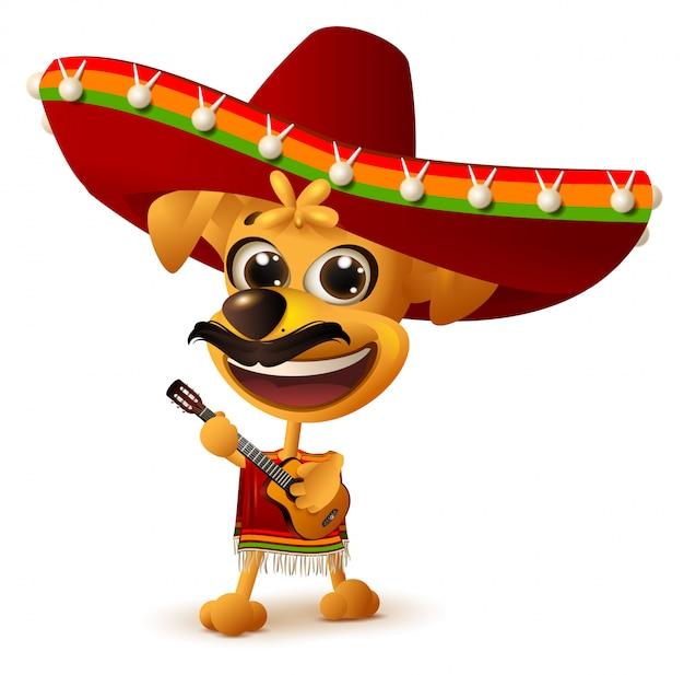 Мексиканская собака в сомбреро играет на гитаре