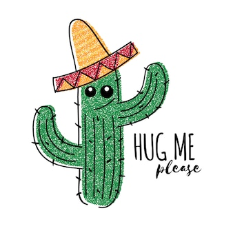 Mexican doodle cactus with hug me please inscription. vector t-shirt print
