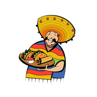 民族衣装と帽子をかぶったメキシコ人は、伝統的なメキシコ料理のトレイを持っています。