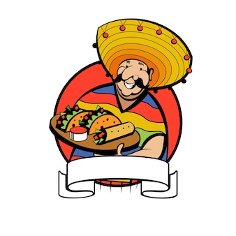 Mexican dressed in a national costume and hat holds a tray of traditional mexican food.