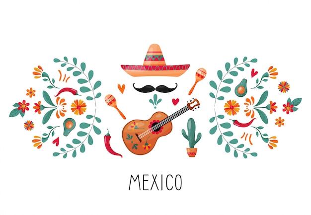 メキシコの要素と花飾り
