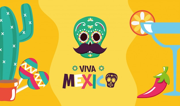Mexican elements for viva mexico