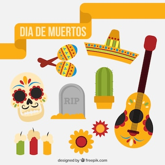 Mexican elements with flat design