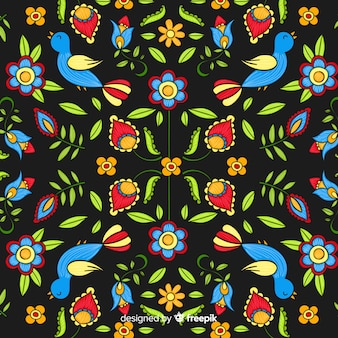 Mexican embroidery colorful background