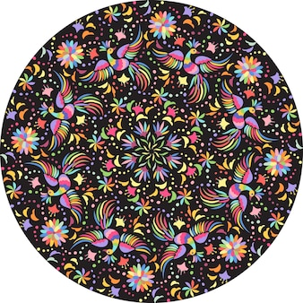 Mexican embroidery round composition. birds and flowers