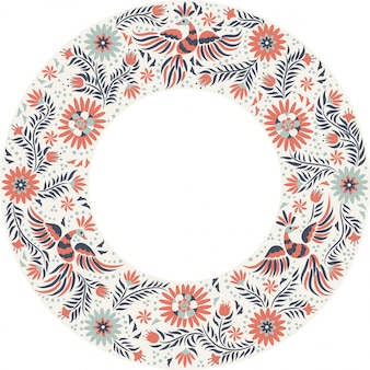 Mexican embroidery round frame pattern