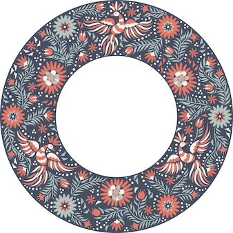 メキシコの刺繡の丸いパターン。カラフルで華やかなエスニックフレームパターン。暗い背景に赤と灰色の鳥や花。