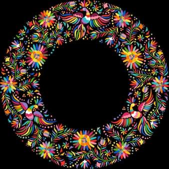 メキシコ刺繍の丸い模様。カラフルで華やかなエスニックフレームパターン。