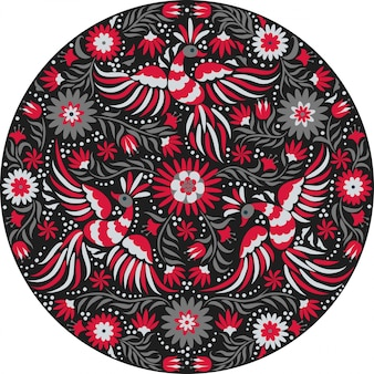 Mexican embroidery round pattern