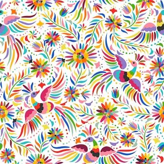 メキシコの刺繡のシームレスなパターン。カラフルで華やかなエスニック柄。