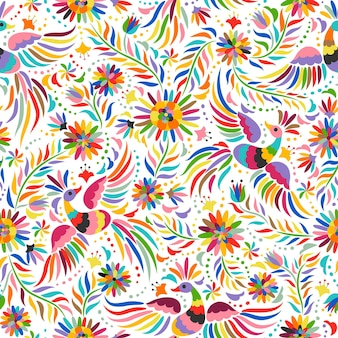 Mexican embroidery seamless pattern. colorful and ornate ethnic pattern.