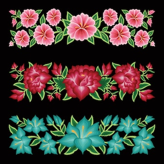 Mexican embroidery style floral borders set