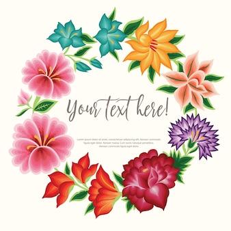 メキシコの刺繡スタイルの花のコピースペースの構成