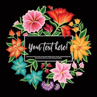 Mexican embroidery style floral copy space template