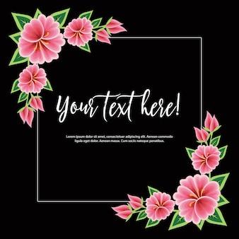 メキシコの刺繡スタイルの花のフレーム