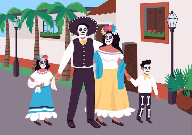 Mexican family at carnival flat color illustration