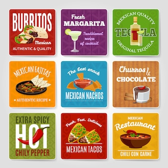 Mexican famous chili con carne and fajitas snack authentic food recipes labels set