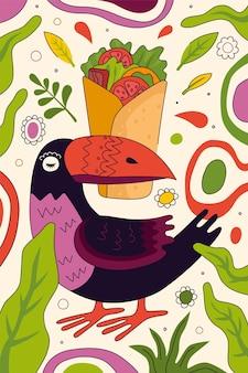 멕시코 요리 레스토랑 메뉴 또는 간이 식당 광고를 위한 멕시코 패스트푸드 부리토 손으로 그린 포스터 디자인. 토르티야 필링 배너에 싸인 새 투칸 부리 전통 라틴 아메리카 요리