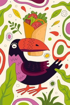 Mexican fast food burrito hand-drawn poster design for mexico cuisine restaurant menu or eatery advertising. in bird toucan beak traditional latin american dish wrapped in tortilla filling banner