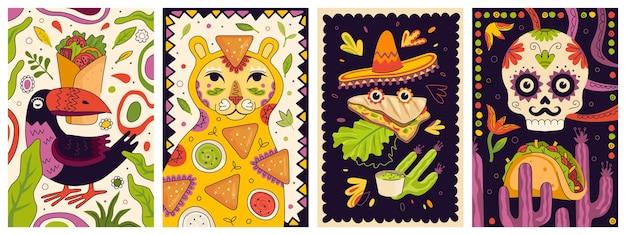 Набор макетов промо-плакатов мексиканского фаст-фуда. буррито баннера кухни мексики. латиноамериканское блюдо с начинкой или начо и соусами. рекламные листовки ресторана или закусочной: кесадилья и тако или тако