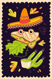 Mexican fast food quesadilla hand-drawn poster for mexico cuisine restaurant menu or eatery advertising. traditional latin american dish banner and sombrero. wheat or corn tortilla with cheese. eps