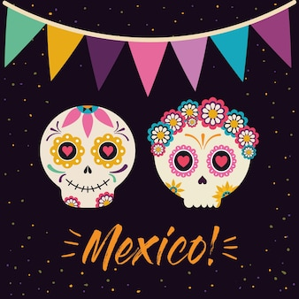 Mexican female and male skull heads with banner pennant design, mexico culture theme